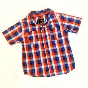 Hurley boys checkered orange blue button up shirt